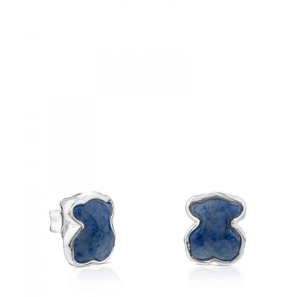 Silver New Colour Earrings with Dumortierite