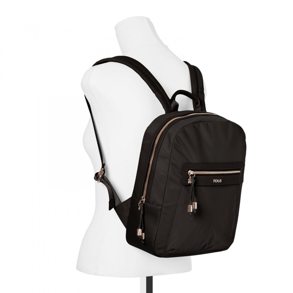 Black colored Canvas Brunock Chain Backpack-Handbag-Tous Canada
