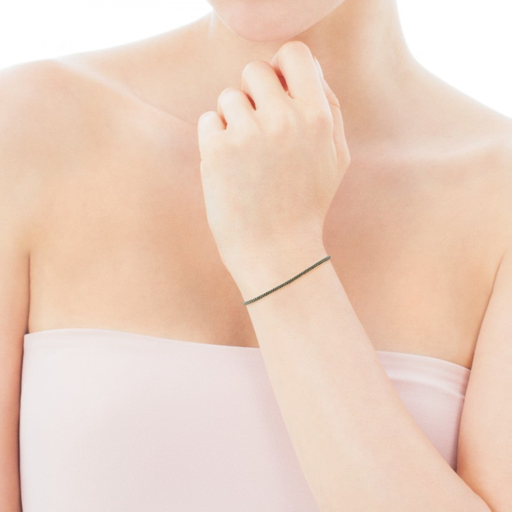 Rose Vermeil Silver TOUS Chokers Bracelet and grey Cord
