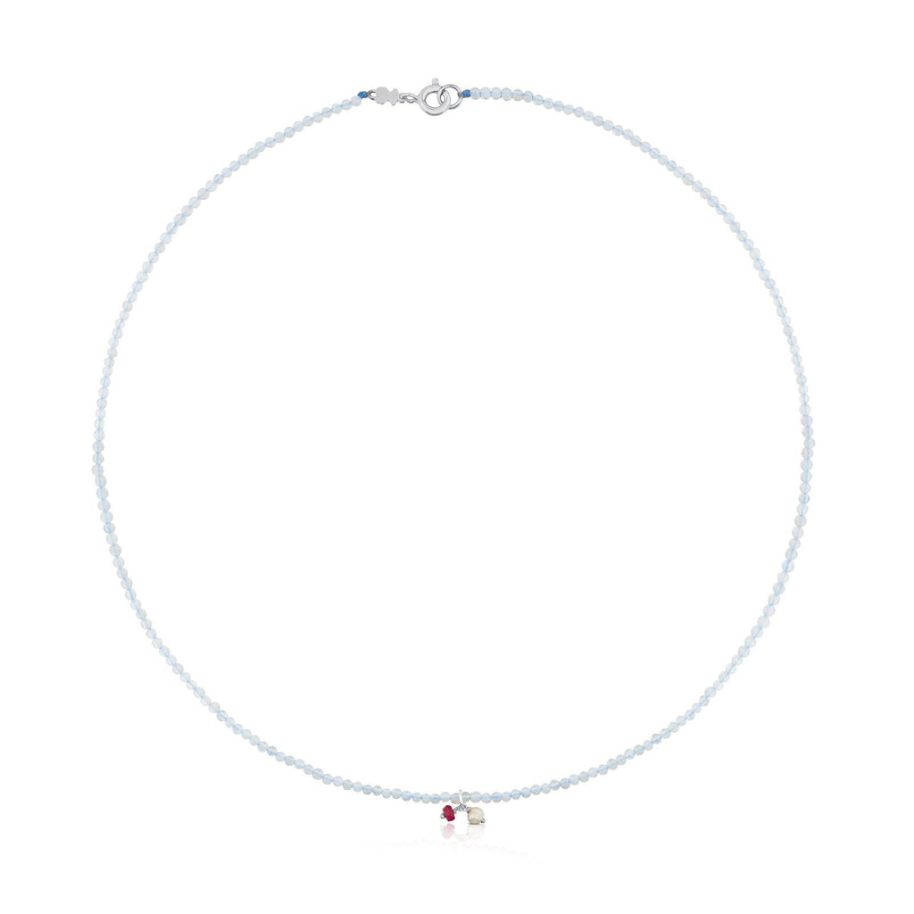Camille Necklace in Silver with Chalcedony, Ruby and Pearl