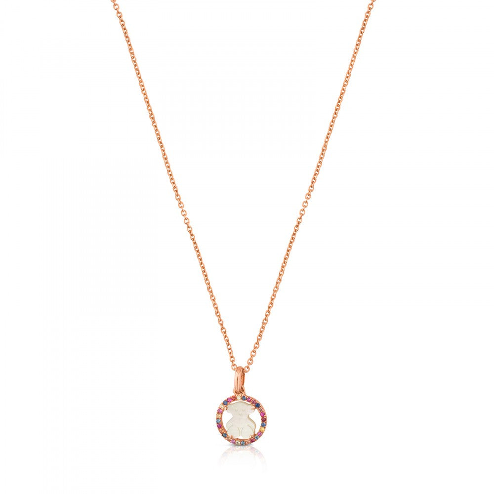 Rose Vermeil Silver Camille Necklace with Mother-of-Pearl and multicolored Sapphire