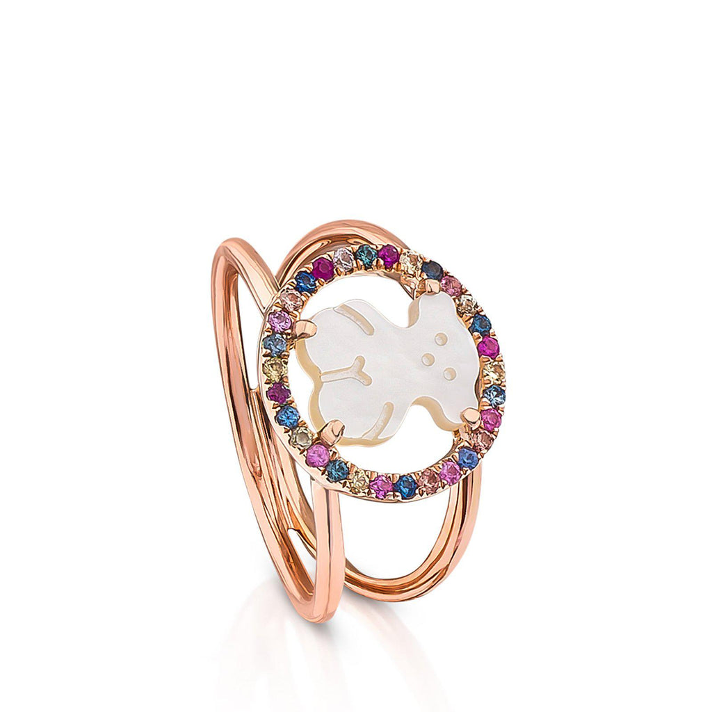 Rose Vermeil Silver Camille Ring with Mother-of-Pearl and multicolored Sapphire