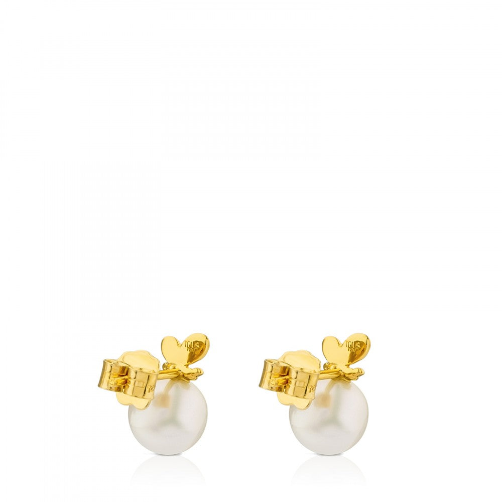 Gold Bera Butterfly Earrings with Pearl