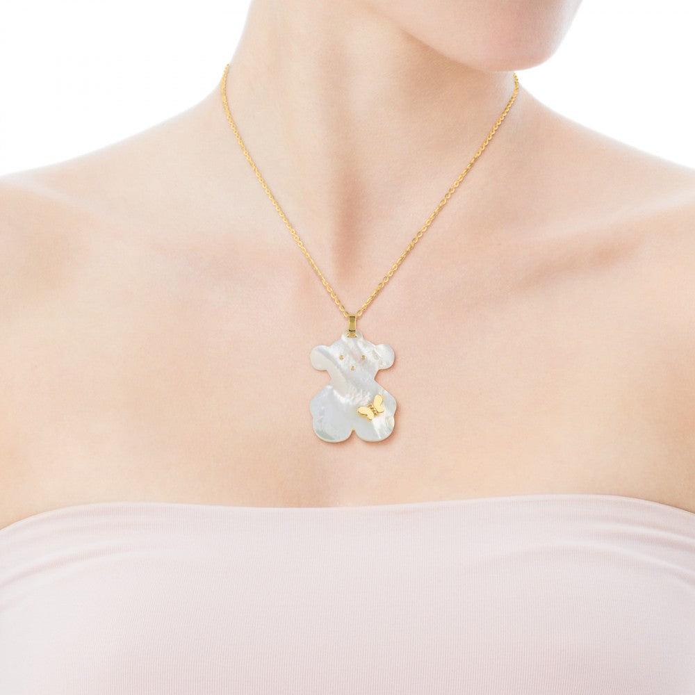 Gold Bera Butterfly Pendant with Mother-of-Pearl