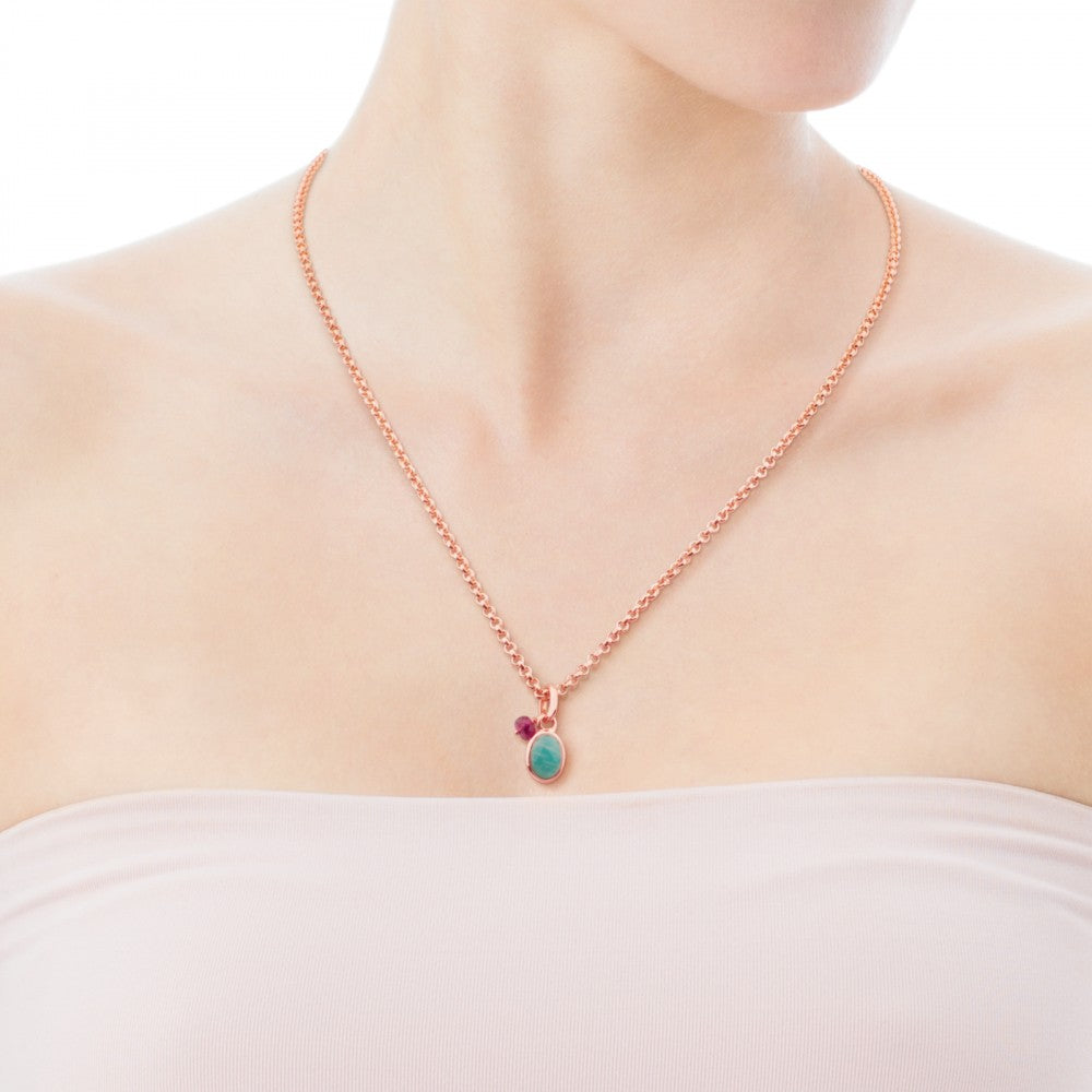 Rose Vermeil Silver Tiny Pendant with Amazonite and Ruby