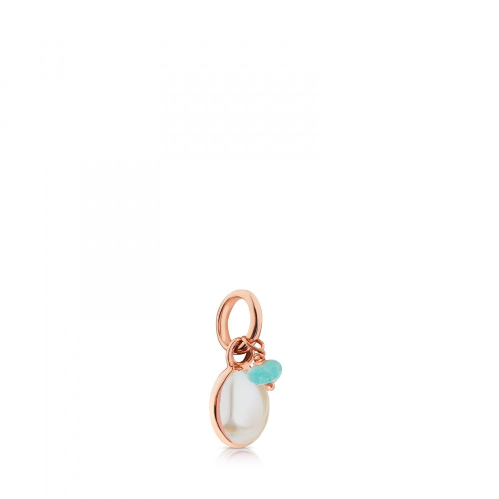 Rose Vermeil Silver Tiny Pendant with Mother-of-Pearl and Amazonite