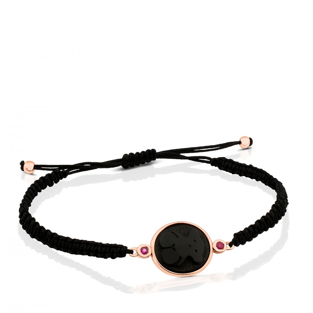 Rose Vermeil Silver Camee Bracelet with Onyx and Ruby and black Cord