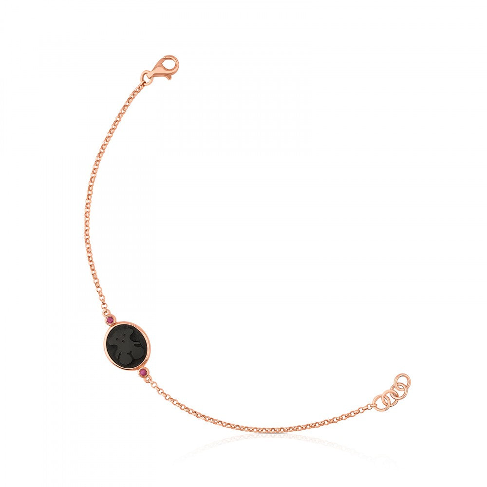 Rose Vermeil Silver Camee Bracelet with Onyx and Ruby