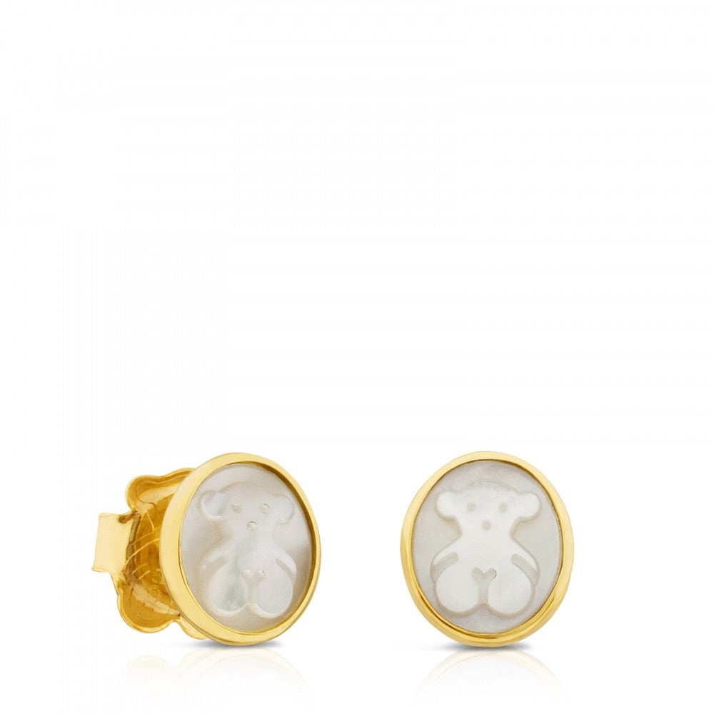 Gold with Mother-of-Pearl Camee Earrings-Default-Tous Canada