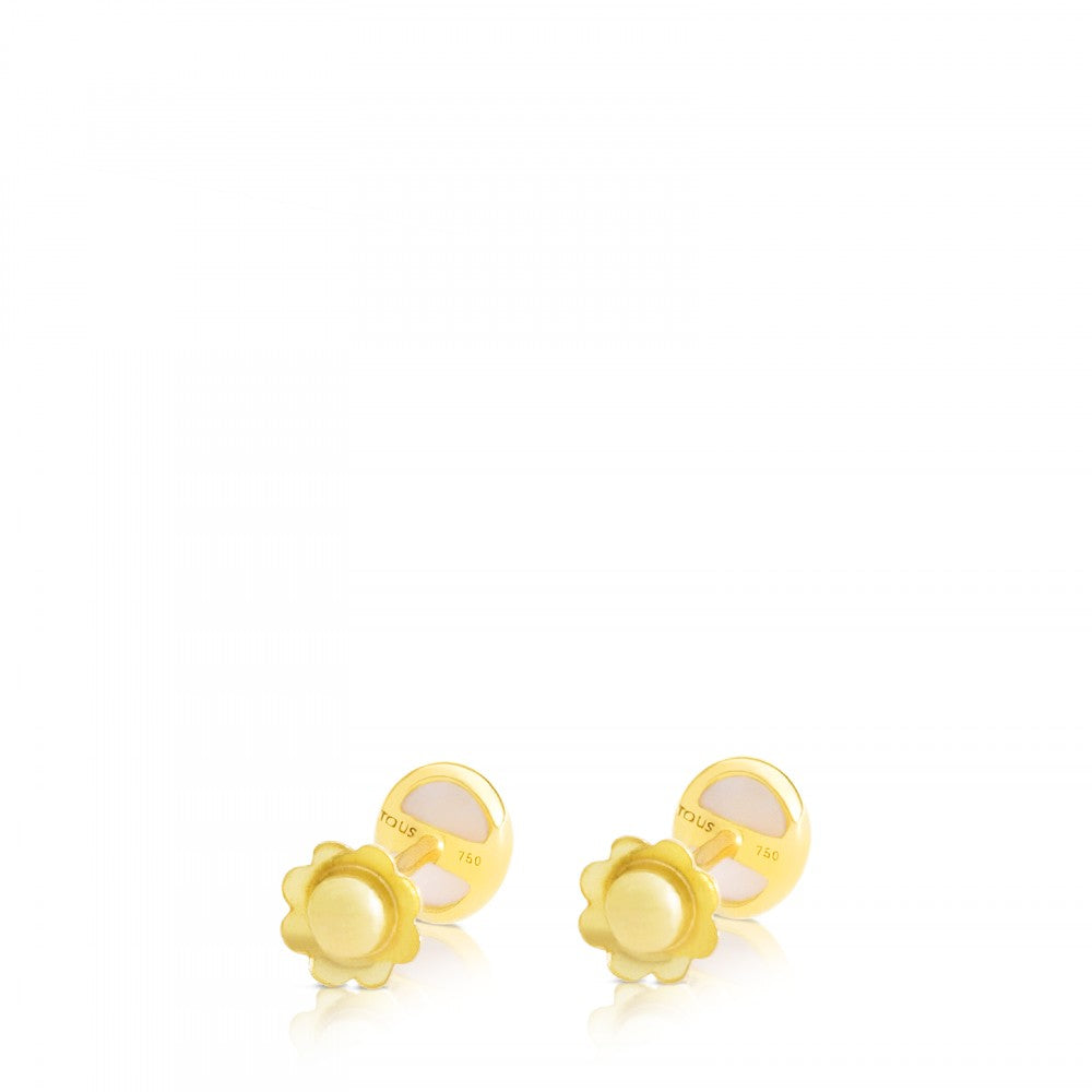Gold Camee Earrings with Mother-of-Pearl