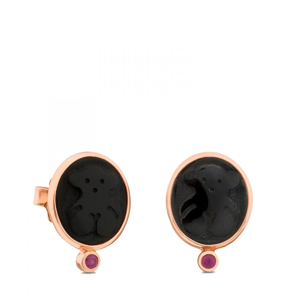 Rose Vermeil Silver Camee Earrings with Onyx and Ruby