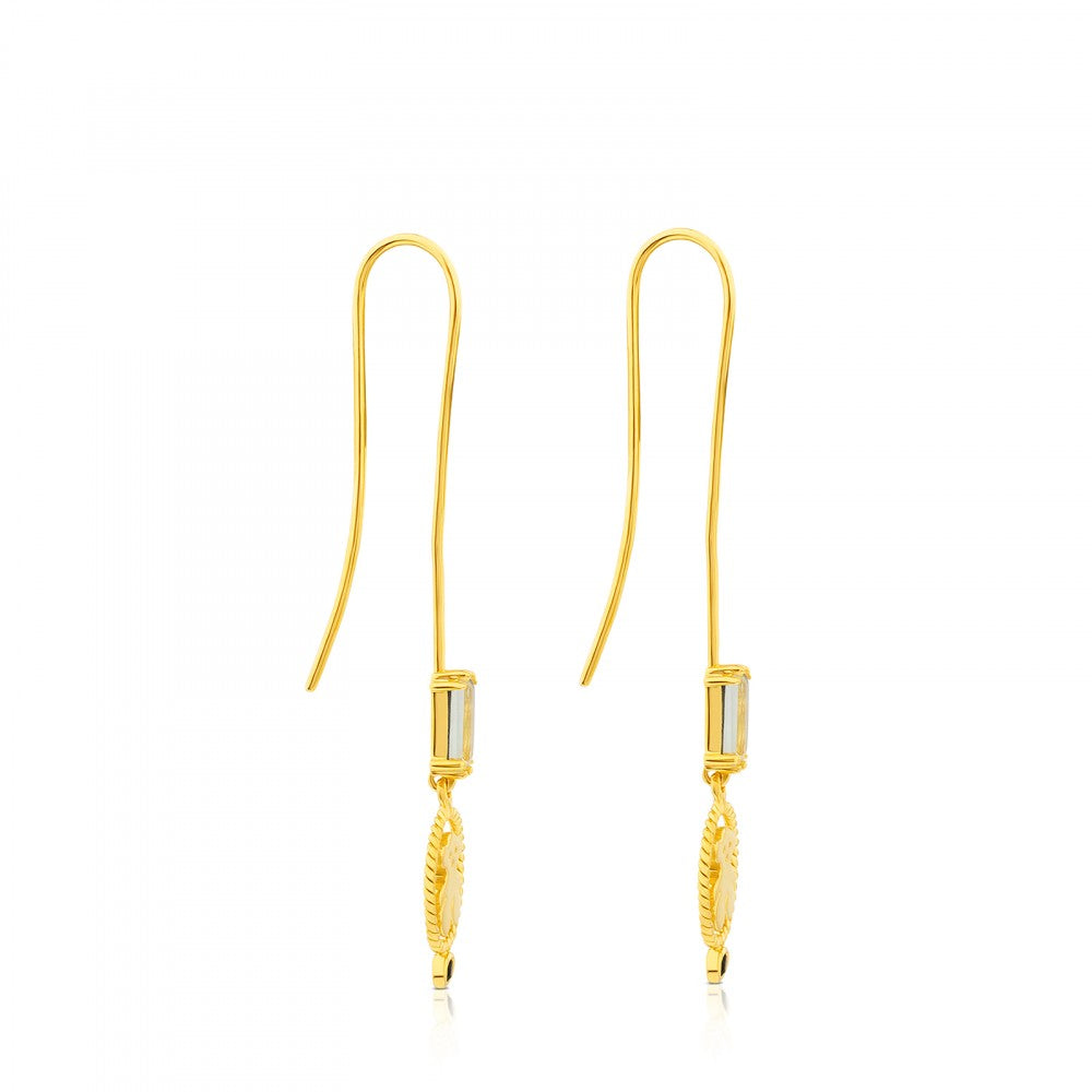 Vermeil Silver Camee Earrings with Spinel and Praseolite-Default-Tous Canada