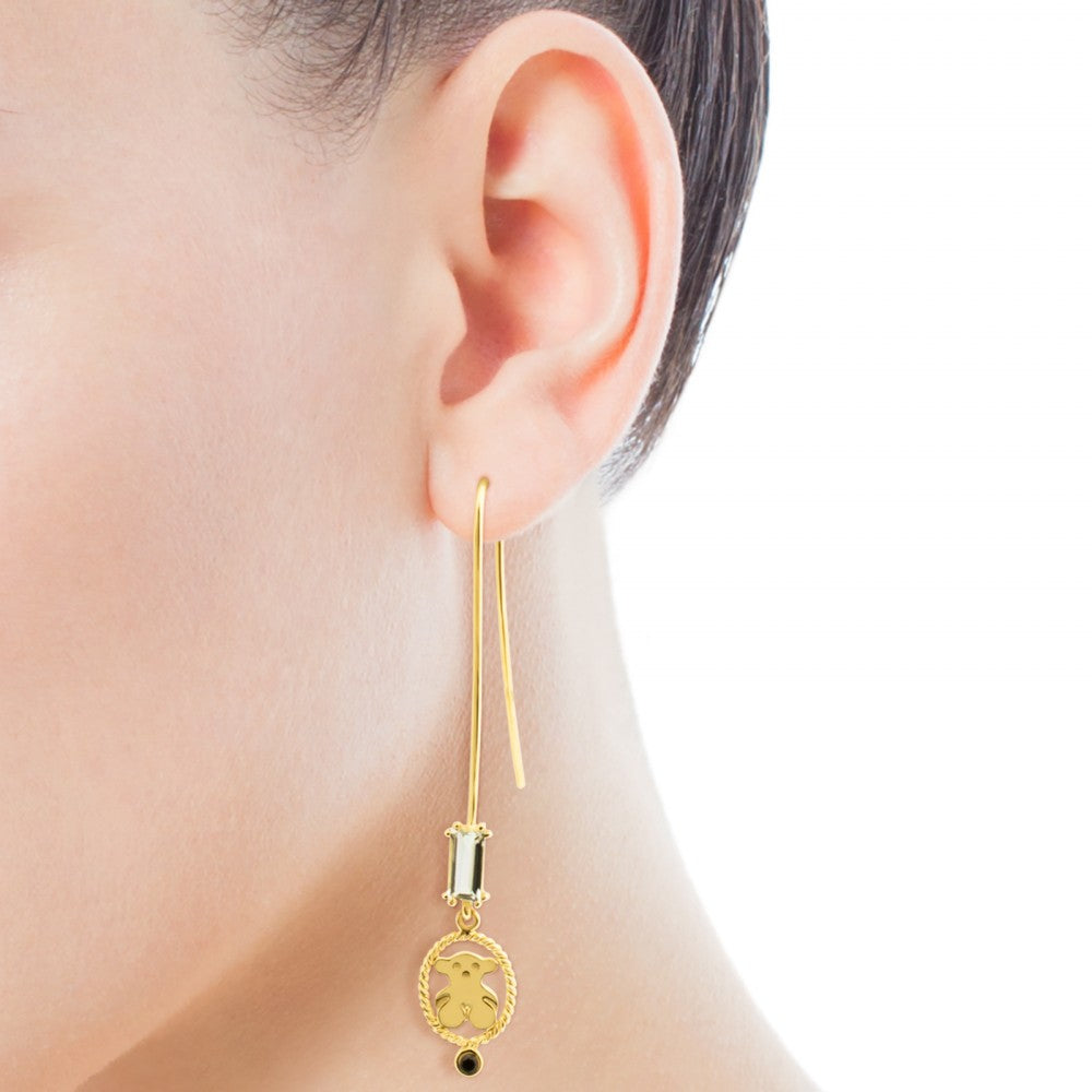 Vermeil Silver Camee Earrings with Spinel and Praseolite