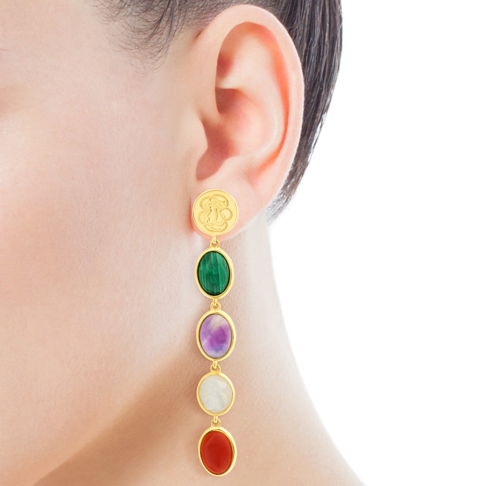 Vermeil Silver Camee Earrings with Gemstones