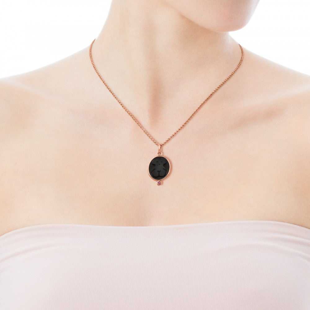 Rose Vermeil Silver Camee Pendant with Onyx and Ruby