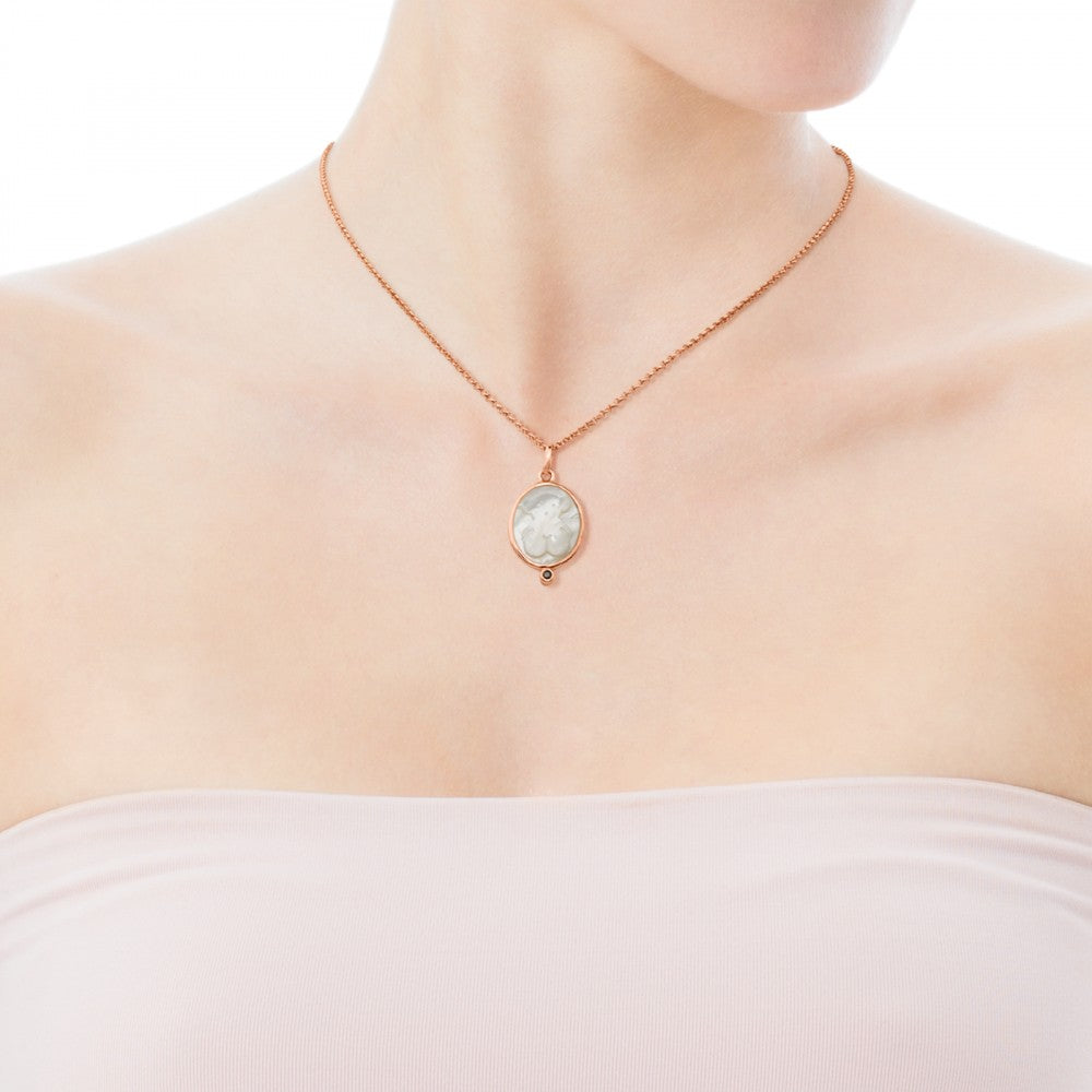 Rose Vermeil Silver Camee Pendant with Mother-of-Pearl and Spinel-Default-Tous Canada