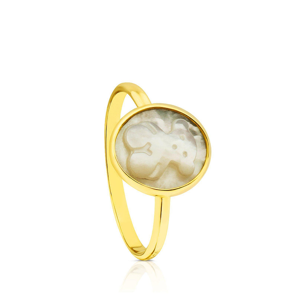 Gold with Mother-of-Pearl Camee Ring