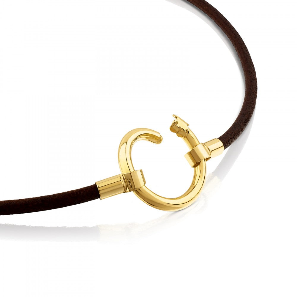 Vermeil Silver and Leather Hold Necklace