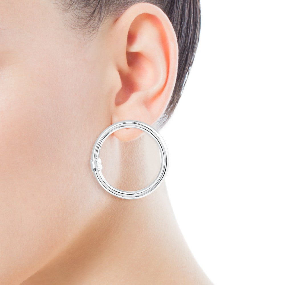 Large Silver Hold Earrings