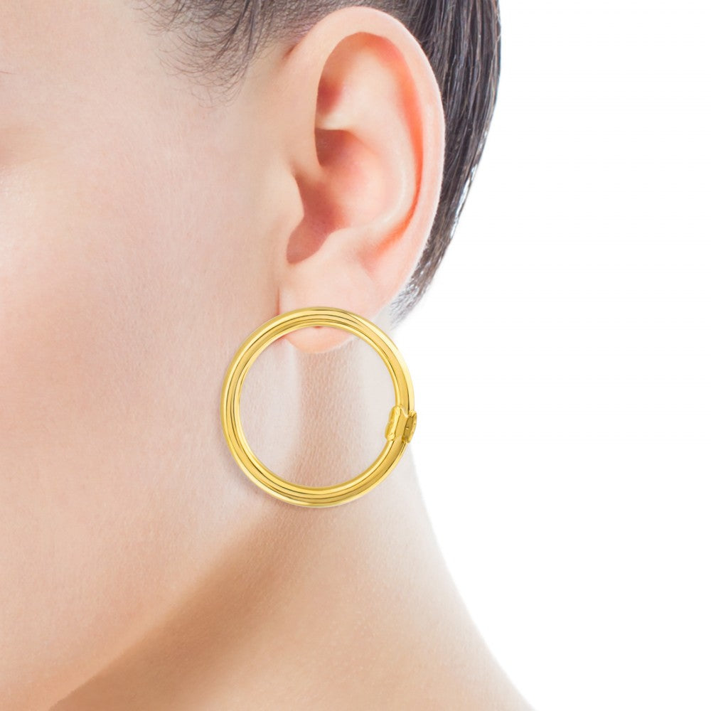 Large Vermeil Silver Hold Earrings