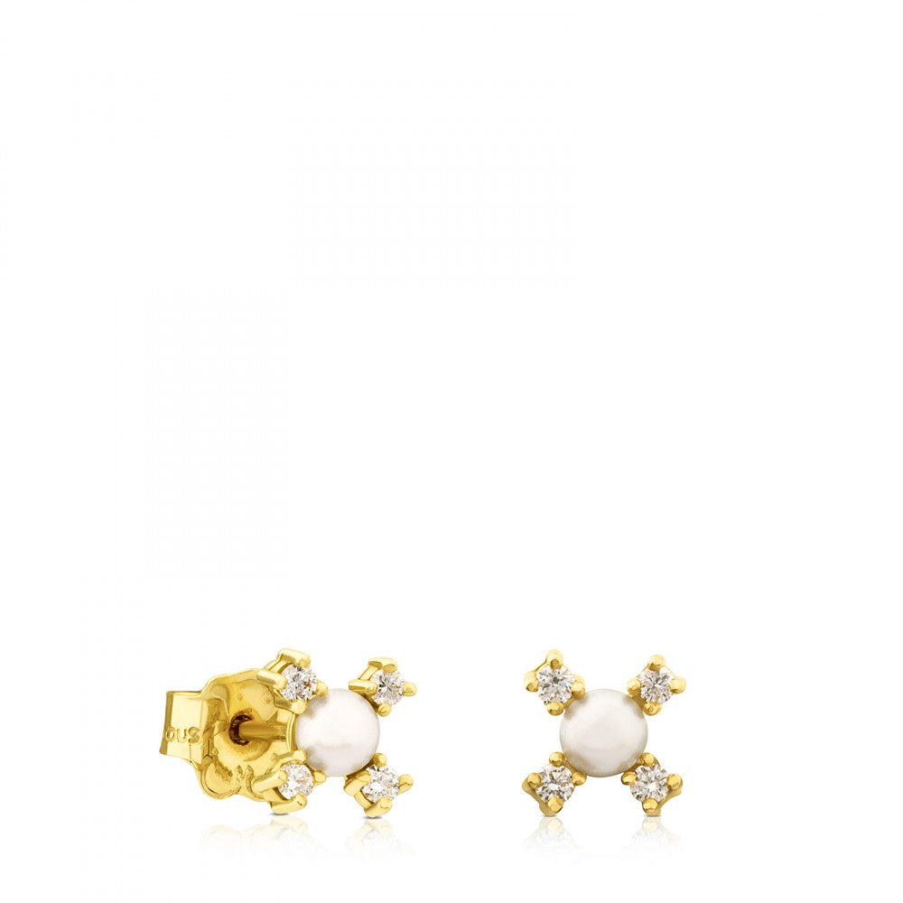 Gold with Diamond and Pearl Eklat Earring