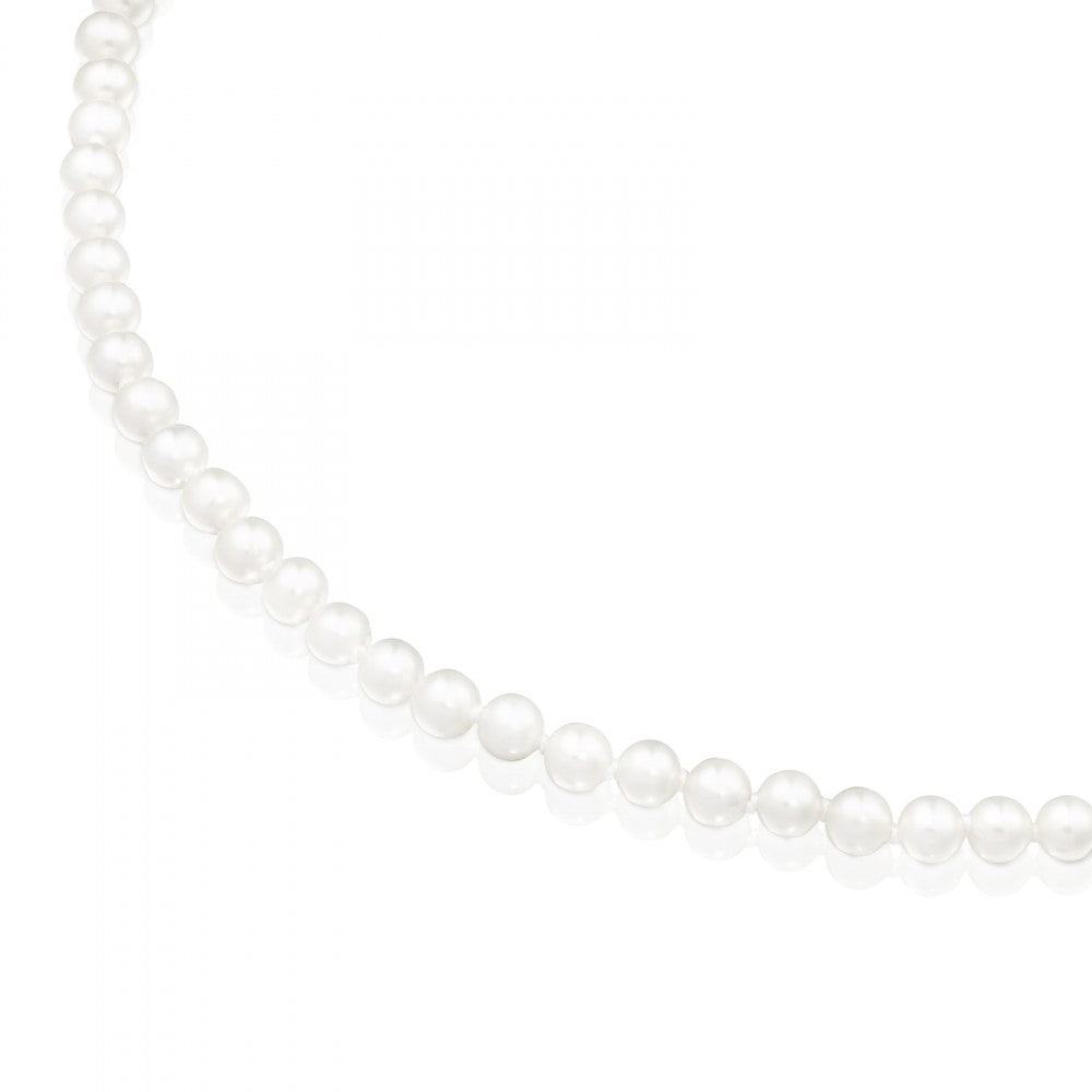 Silver Hold Necklace with Pearls-Necklace-Tous Canada