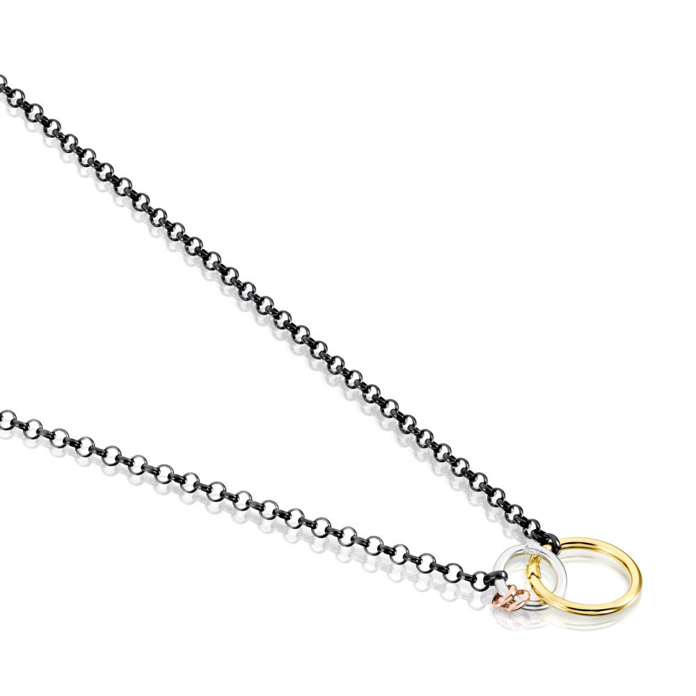 Hold necklace in Dark Silver with Gold Vermeil, rose Gold Vermeil and Silver