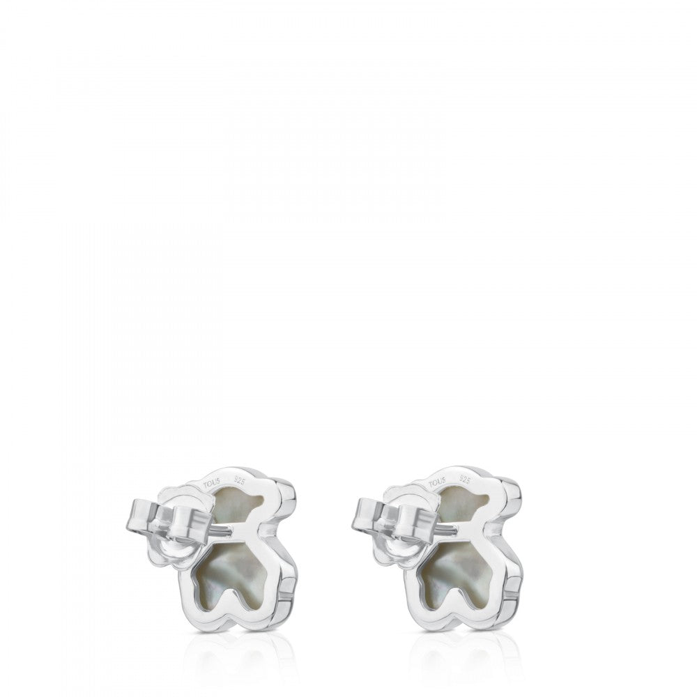 Silver Motif Power Earrings with Mother-of-pearl