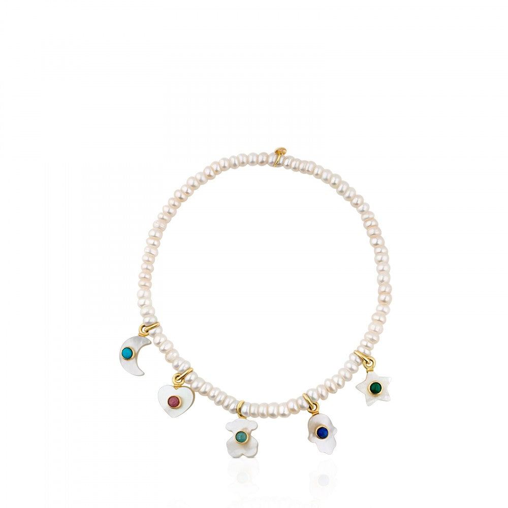 Gold Super Power Bracelet with Pearls and Gemstones