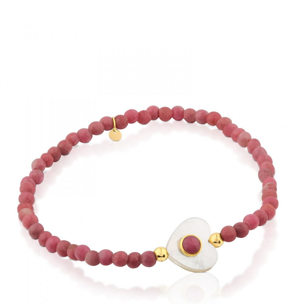 Gold Super Power Bracelet with Rhodonites and Mother-of-pearl