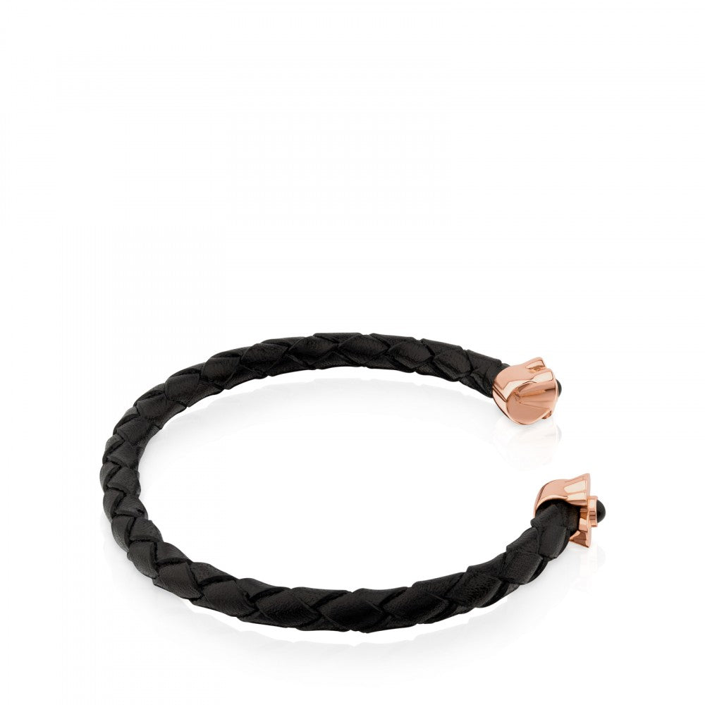 Rose Vermeil Silver Super Power Bracelet with black Leather and Onyx