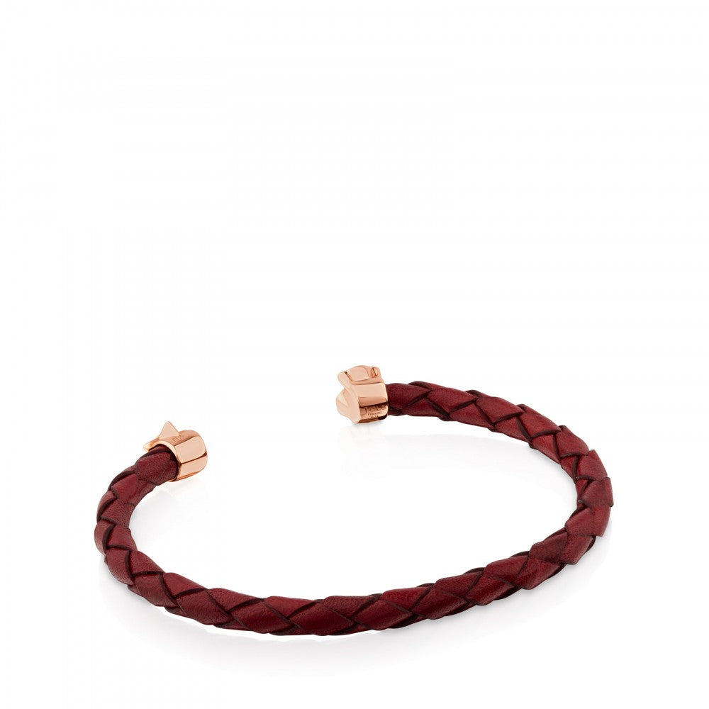 Rose Vermeil Silver Super Power Bracelet with Garnet Colored Leather and Turquoise