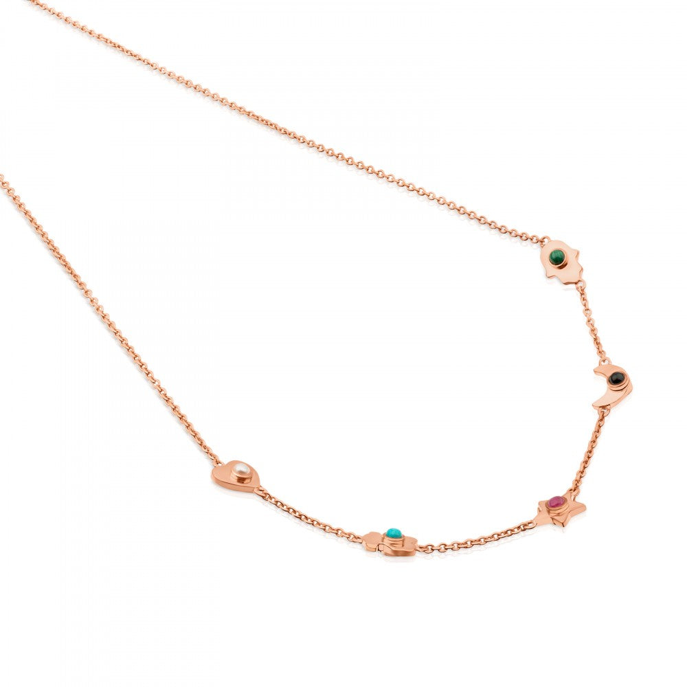 Rose Vermeil Silver Super Power Necklace with Gemstones