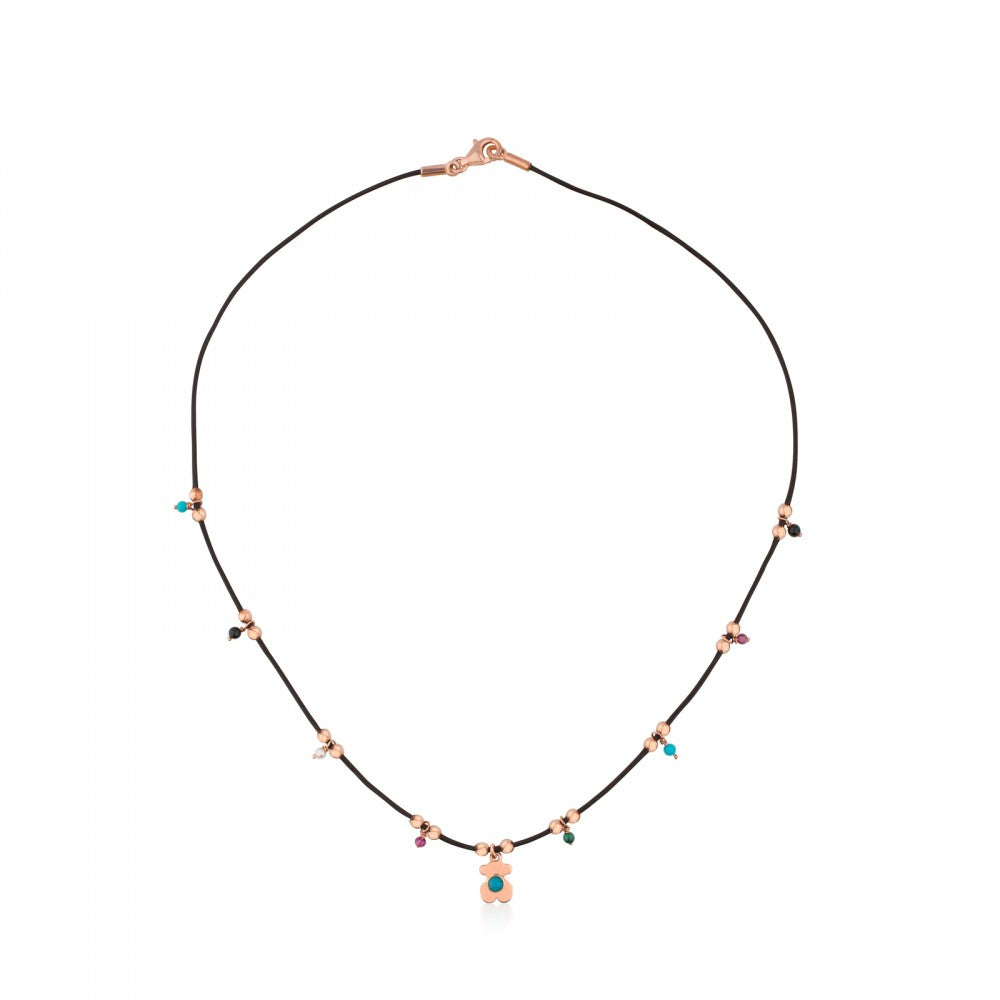 Rose Vermeil Silver Super Power Necklace with Leather and Gemstones