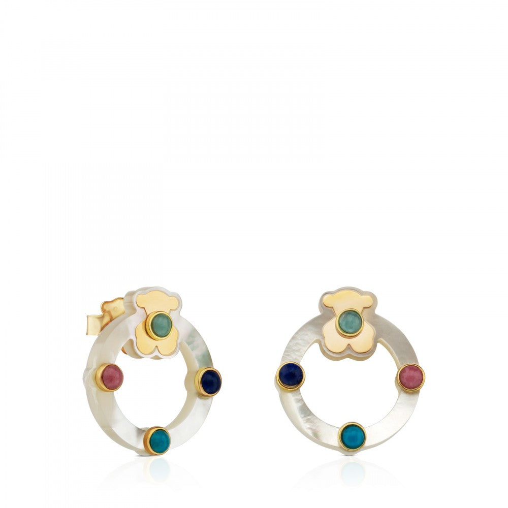 Gold Super Power Earrings with Mother-of-pearl and Gemstones