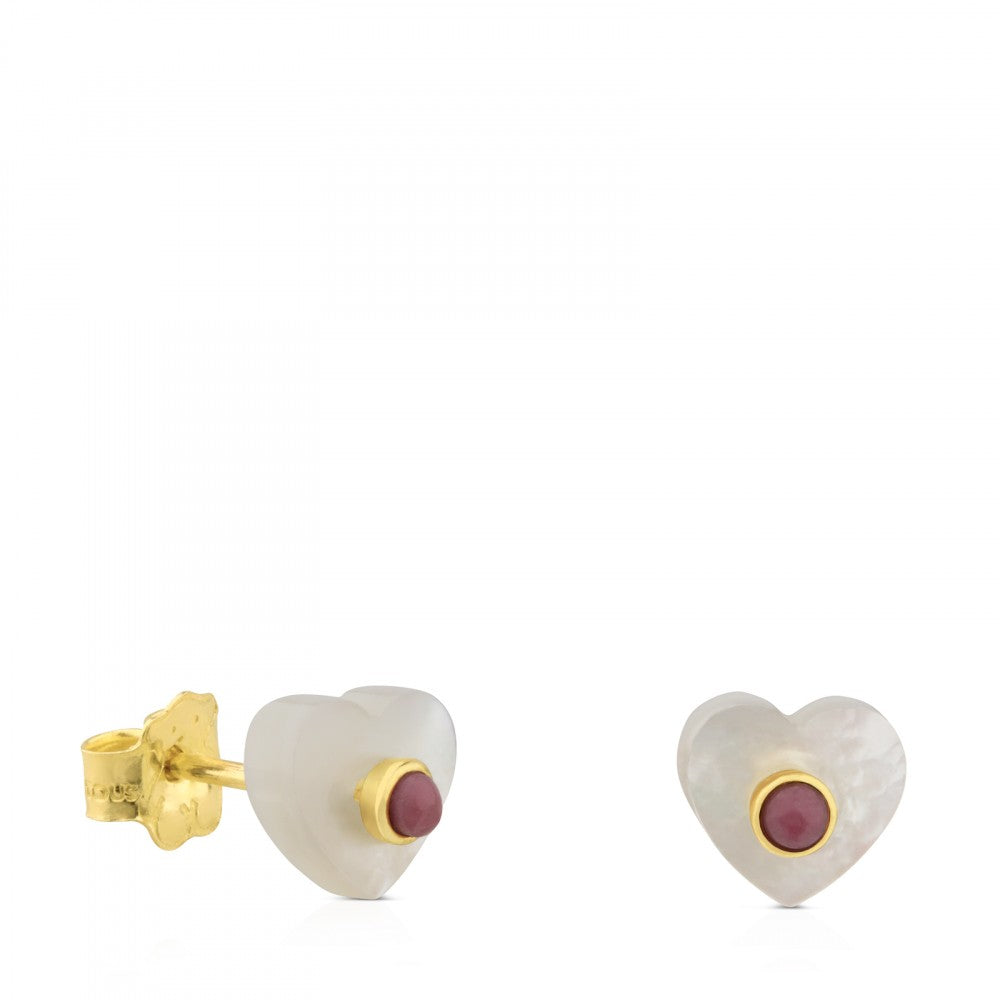 Gold Super Power Earrings with Mother-of-pearl and Rhodonite