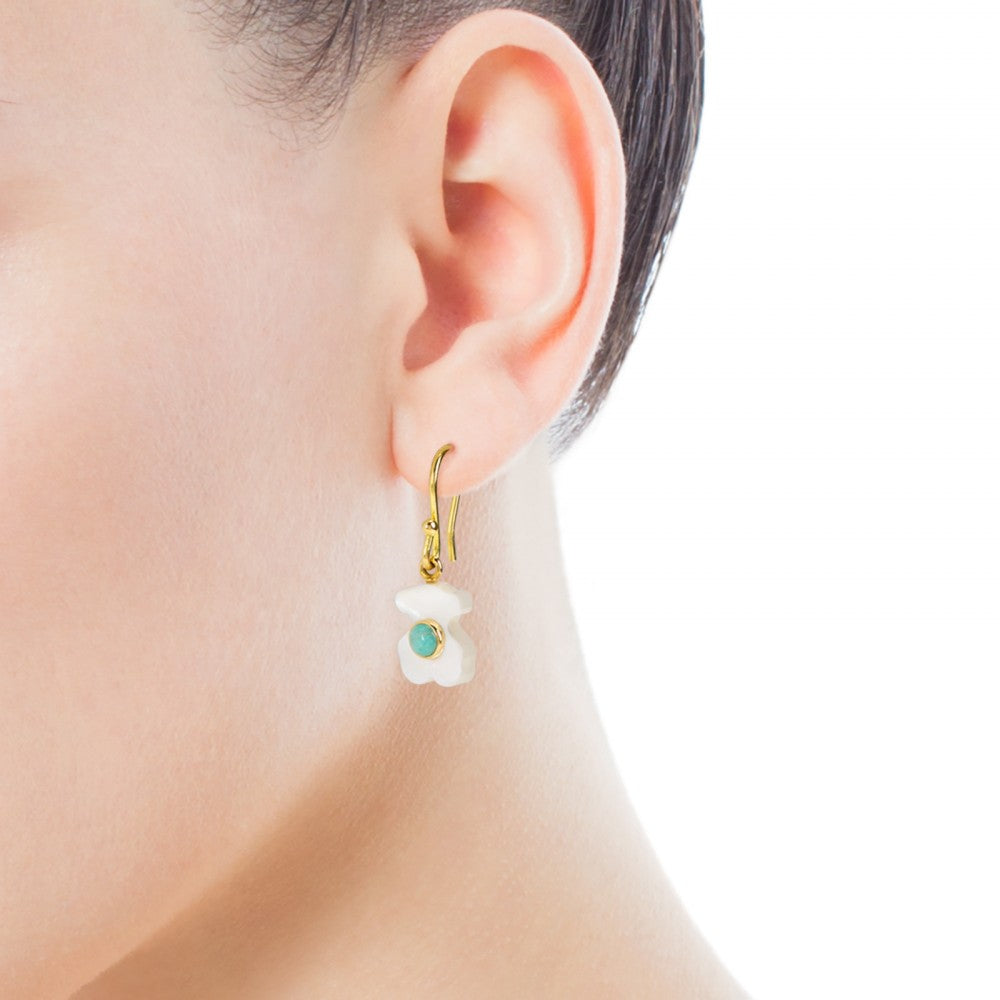 Gold Super Power Earrings with Mother-of-pearl and Amazonite