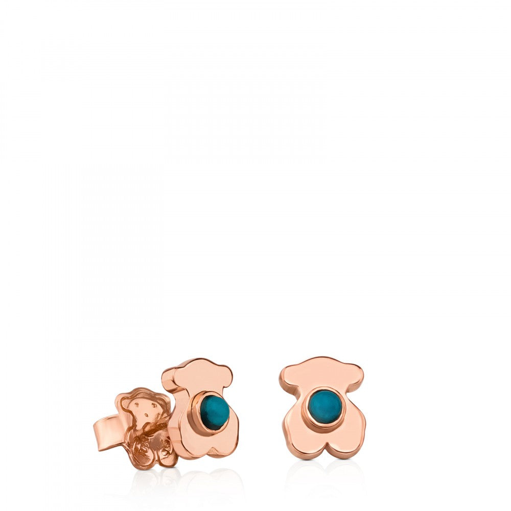 Rose Vermeil Silver Super Power Earrings with Turquoise-Earrings-Tous Canada