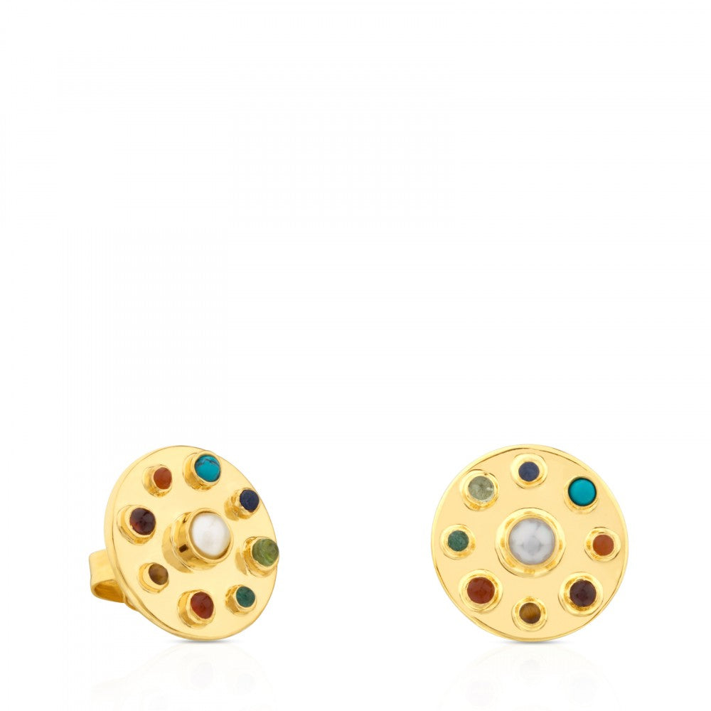 Vermeil Silver Super Power Earrings with Gemstones