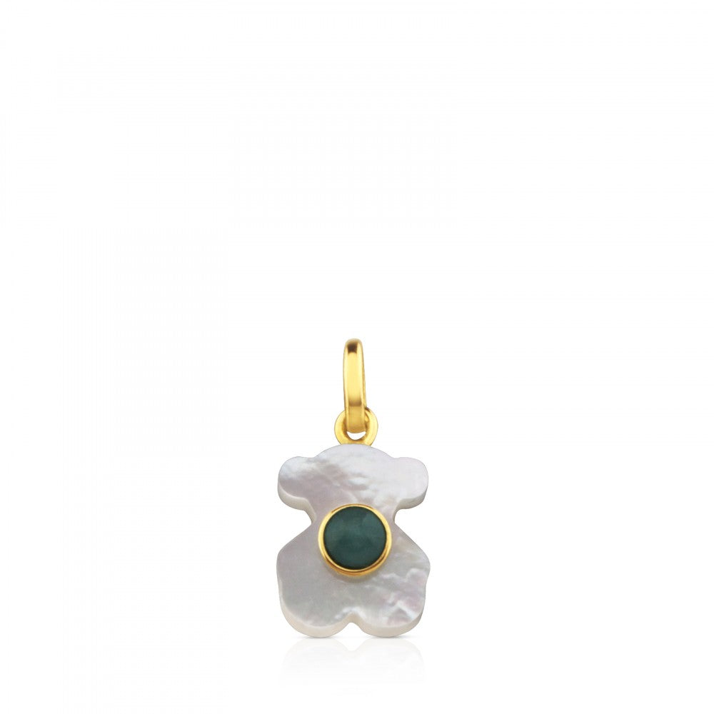 Gold Super Power Pendant with Mother-of-pearl and Amazonite