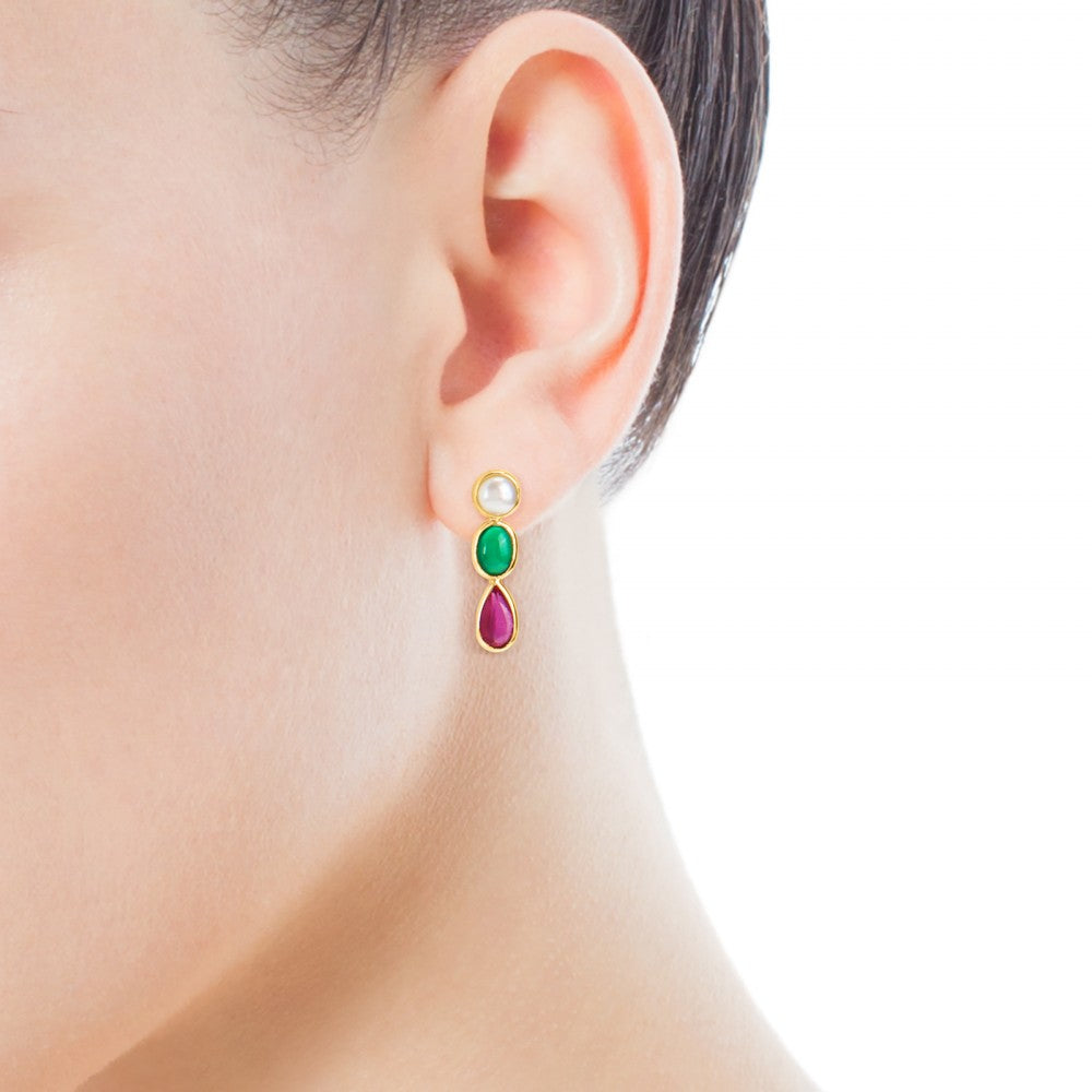Gold Gem Power Earrings with Pearl, green Agate and Ruby