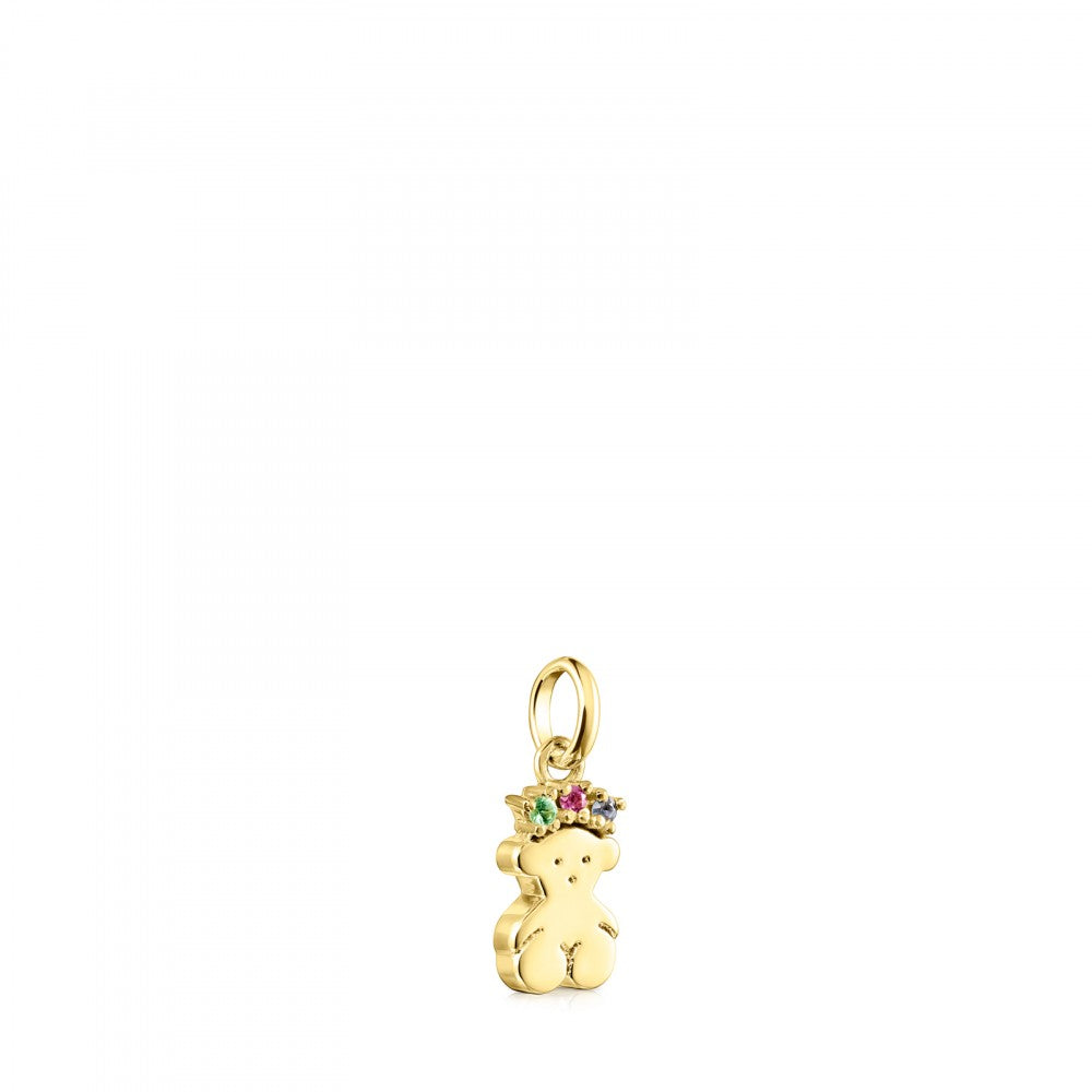 Gold Real Sisy bear Pendant with Gemstones