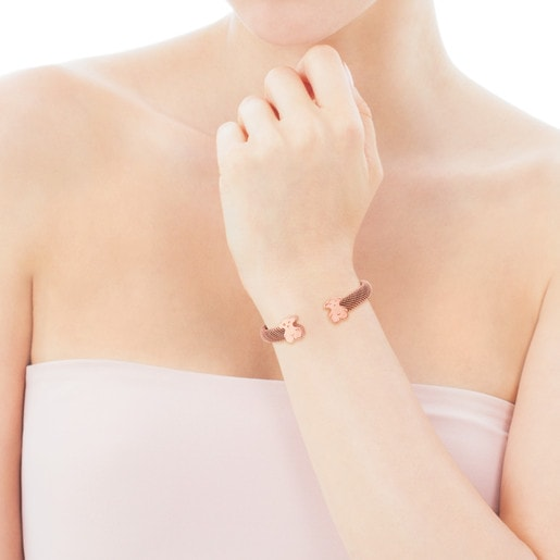 Steel and Rose Vermeil Silver Mesh Bracelet-Tous Canada