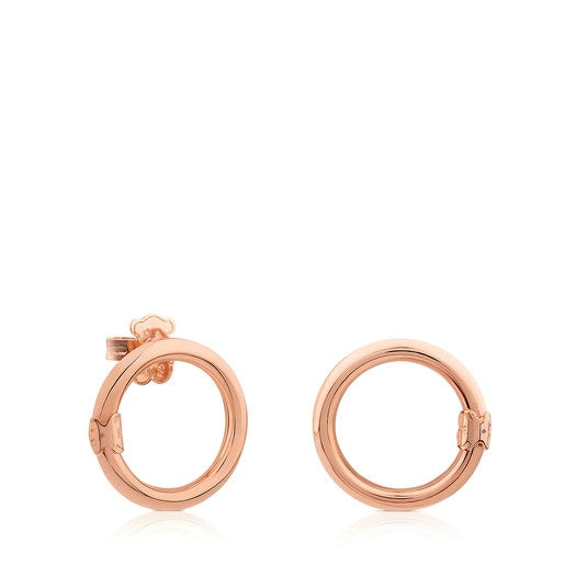 Medium Rose Vermeil Silver Hold Earrings-Tous Canada