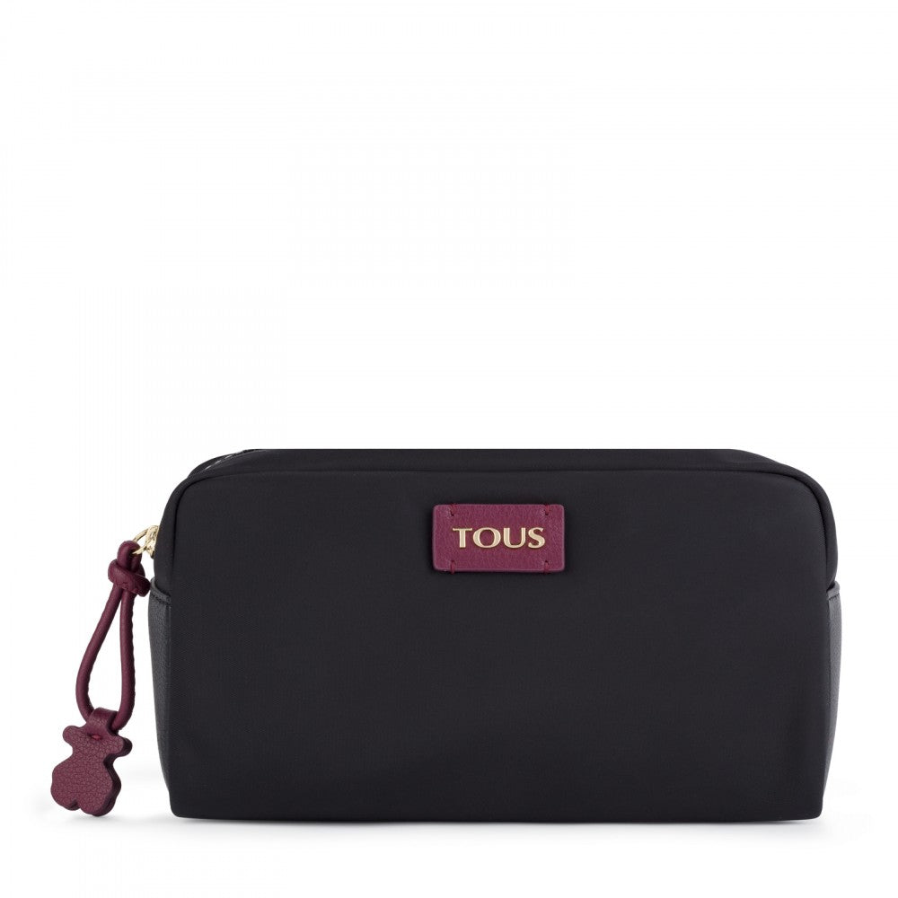 Large Black-Burgundy Nylon Doromy Toiletry Bag
