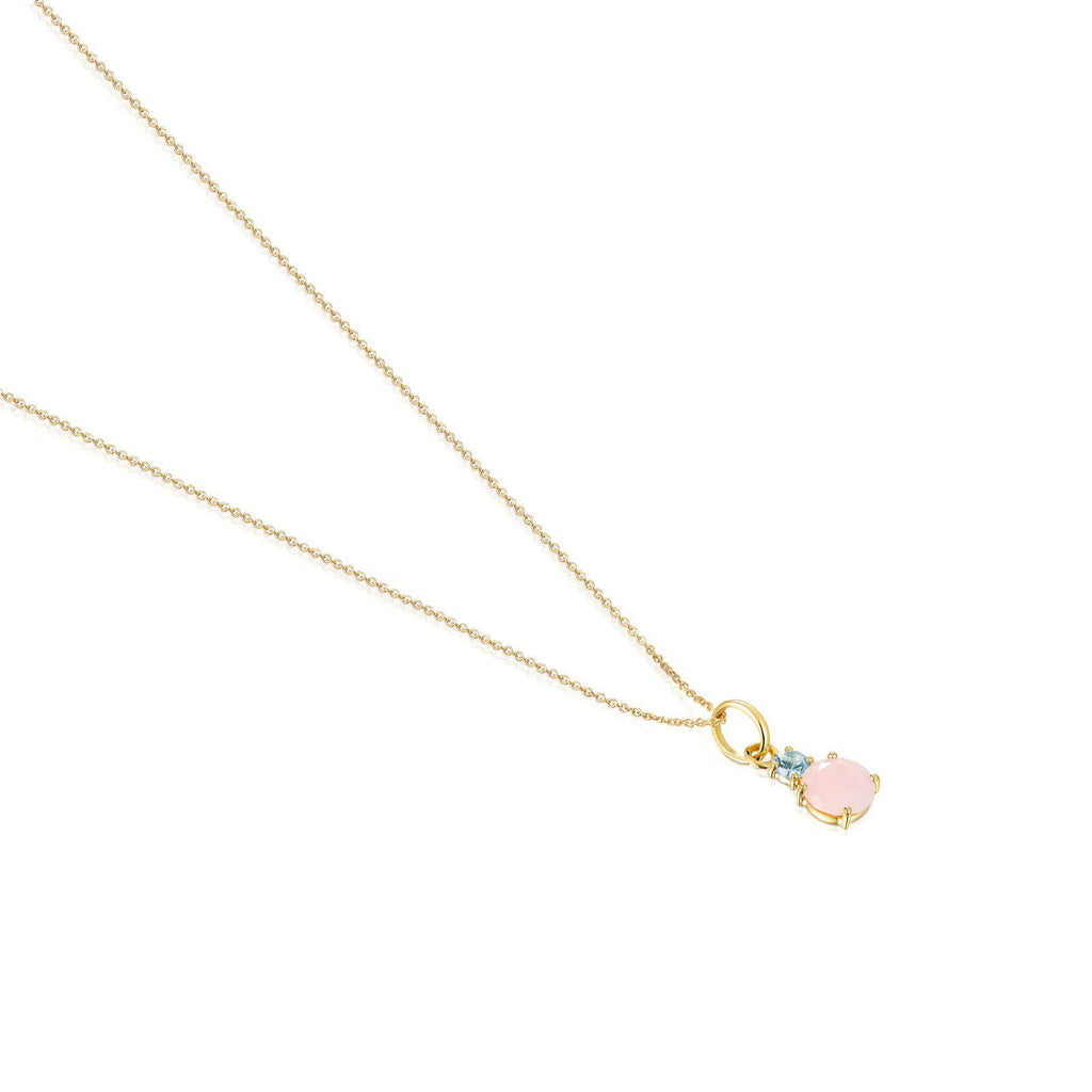 Mini Ivette Necklace in Gold with Opal and Topaz