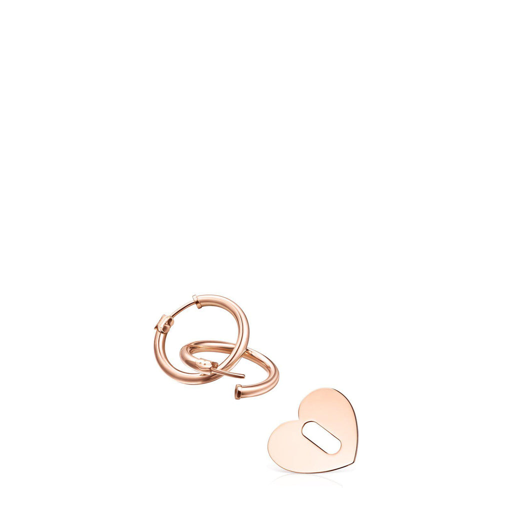 Hold Metal Heart Earrings in Rose Gold Vermeil