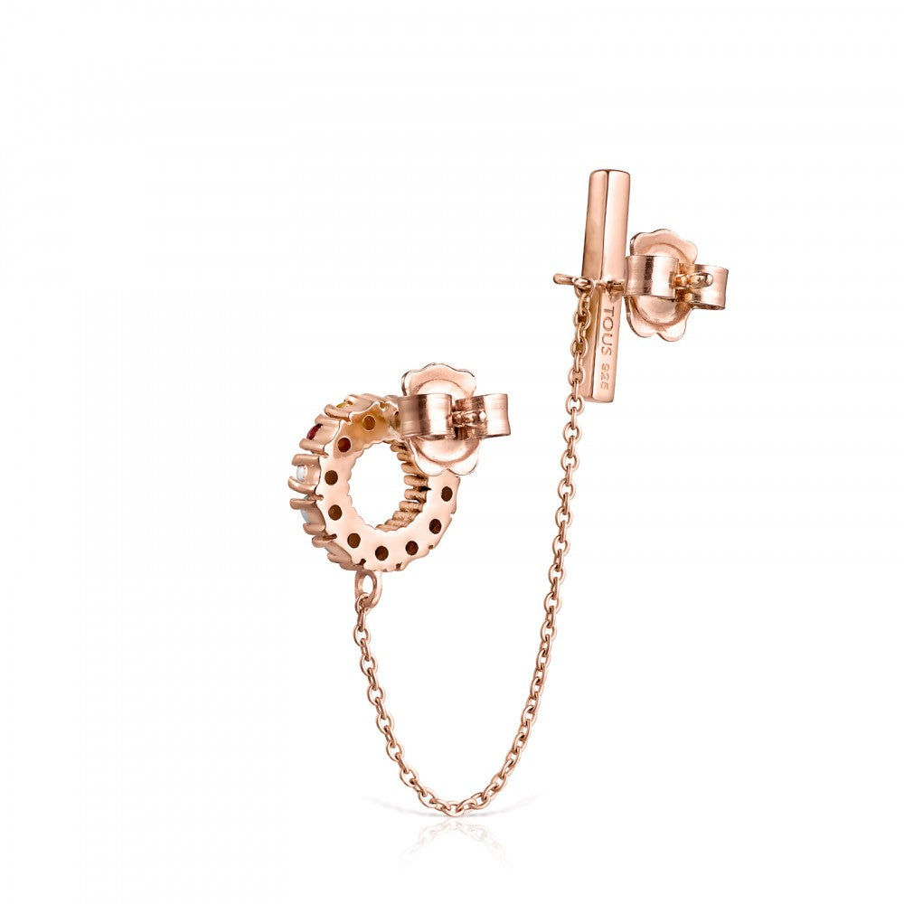 Rose Gold Vermeil Straight Earring with Gemstones