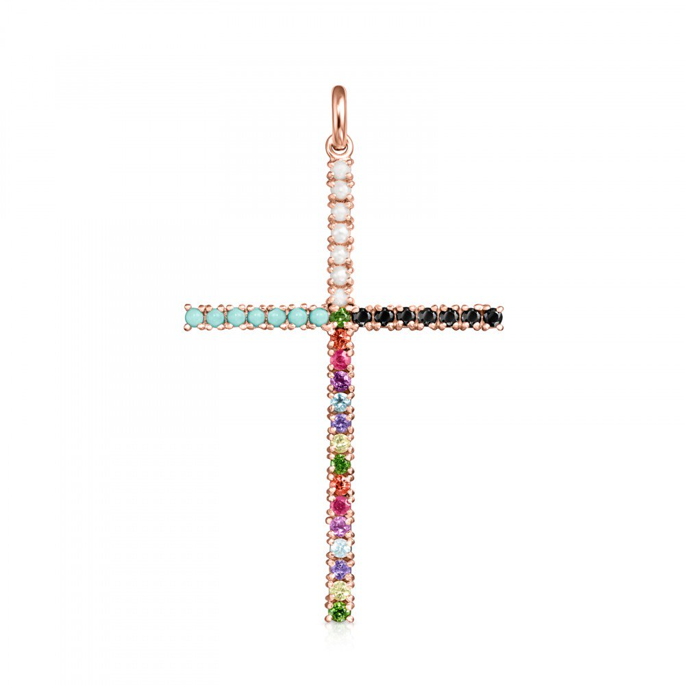 Rose Gold Vermeil Straight cross Pendant with Gemstones