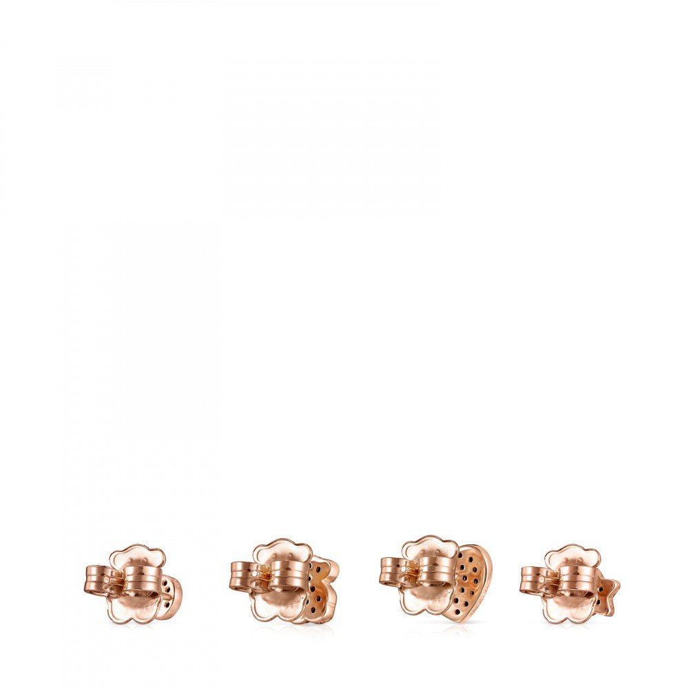 Pack of rose Gold Vermeil Motif Earrings with Spinels
